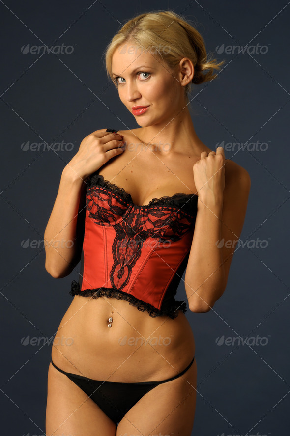 blonde girl in underwear - Stock Photo - Images