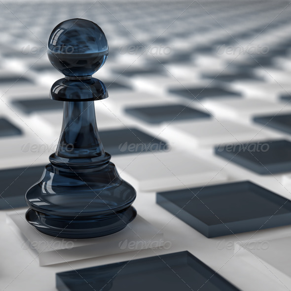 PhotoDune glass pawn of dark color on a chess cells 4141336