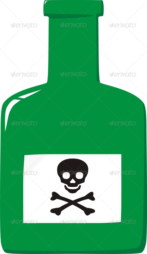 PhotoDune Bottle with poison and label a skull and crossbones 4141383