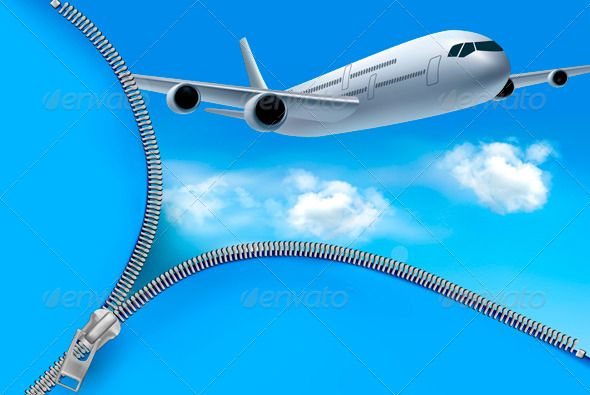 GraphicRiver Travel Background with Airplane and Clouds 4142813