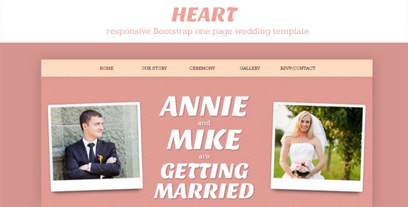 ThemeForest Heart One Page Wedding Invitation Template 4120254
