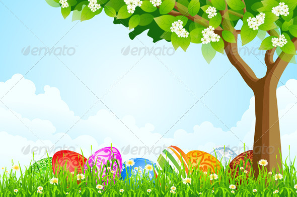 Green Tree Background with Easter Eggs - Seasons/Holidays Conceptual