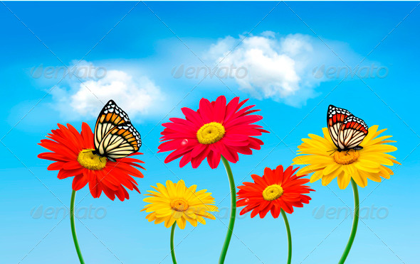 GraphicRiver Flowers with Butterflies 4143316