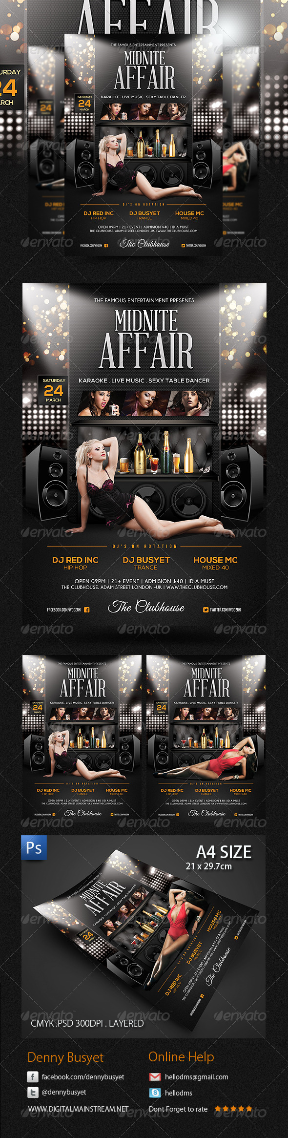 Midnite Affair Nightclub Flyer Poster Template - Events Flyers
