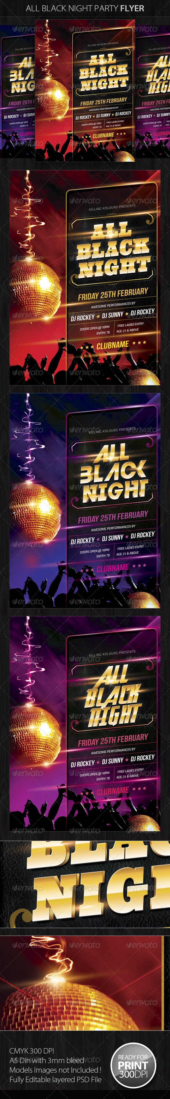 All Black Night Party Flyer - Clubs &amp; Parties Events
