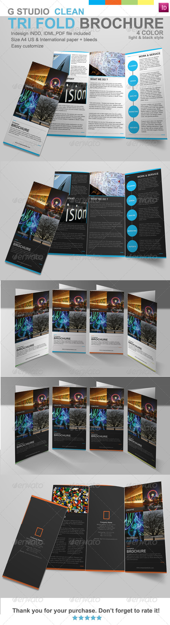 G Studio Clean Tri-Fold Brochure Template - Corporate Brochures