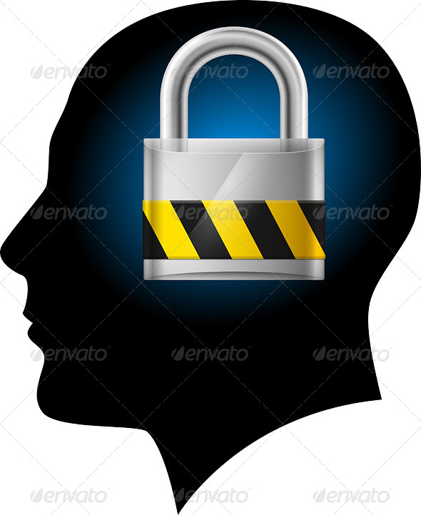 GraphicRiver Man with Padlock in Head 4147134