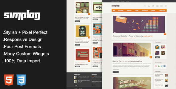 ThemeForest Simplog Responsive Blog Magazine Theme 4128495