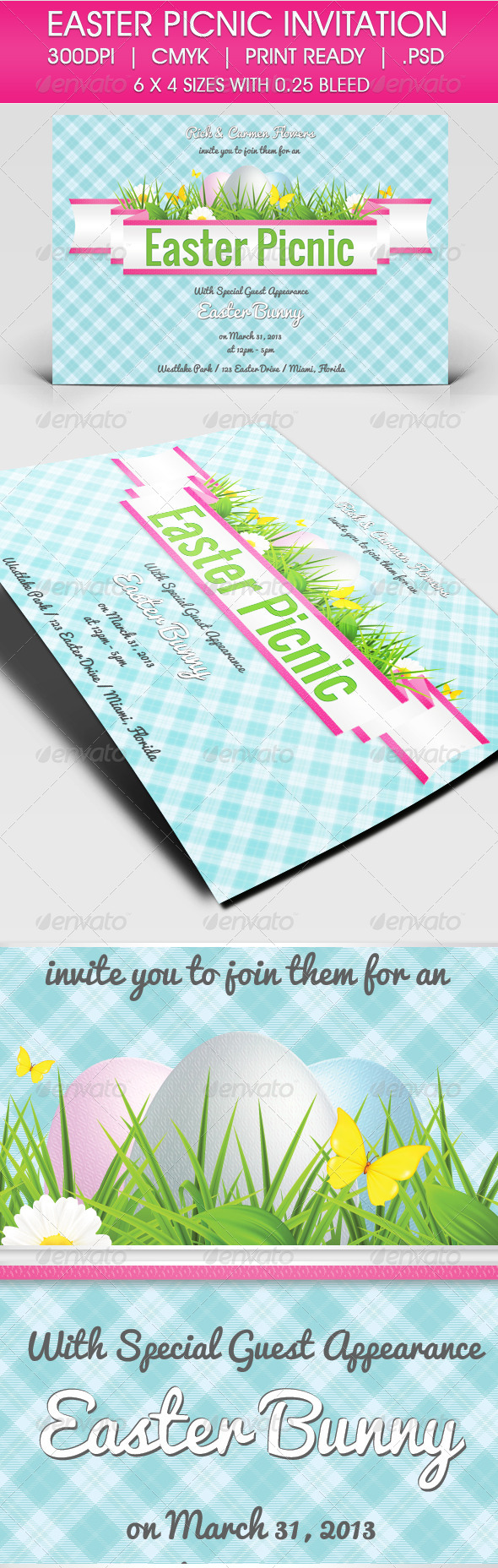 GraphicRiver Easter Picnic Invitation 4148377