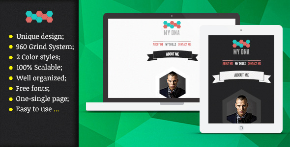 ThemeForest My DNA PSD Template Onepage vCard 4148591