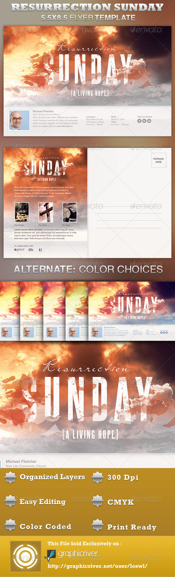 GraphicRiver Resurrection Sunday Church Flyer Template 4027947