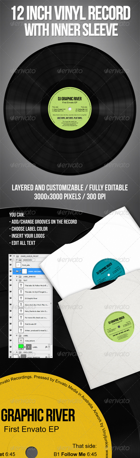 GraphicRiver 12 Inch Vinyl Record With Inner Sleeve 4045033