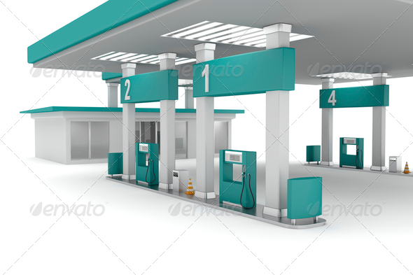 PhotoDune Green petrol station 4150269