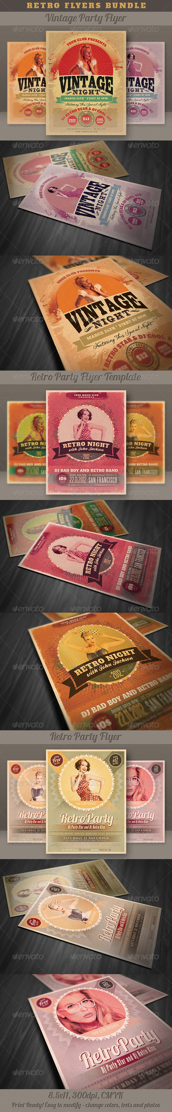 GraphicRiver Retro Flyers Bundle 4149914