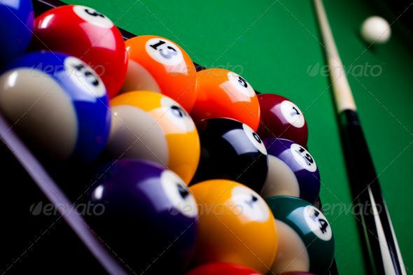 PhotoDune Pool game balls against a green 4166142