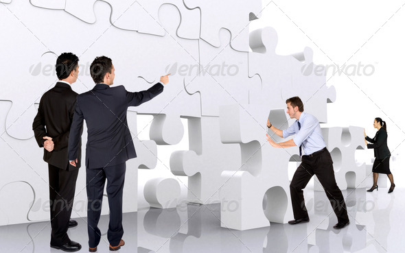PhotoDune business teamwork business men making a puzzle 449018