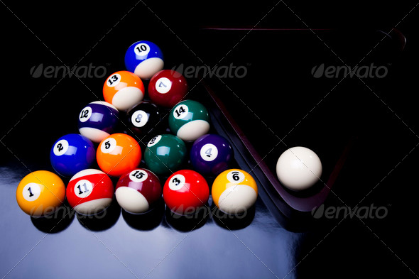 PhotoDune Billiard balls isolate on black 4166124