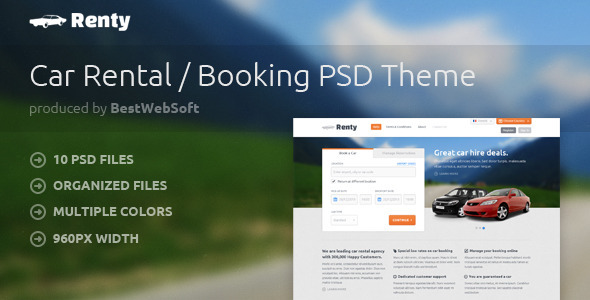 ThemeForest Renty Car Rental & Booking PSD Template 4153222