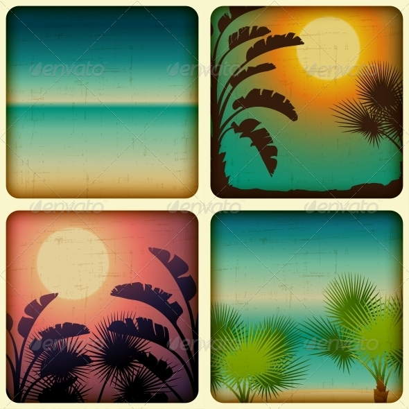 GraphicRiver Retro Tropical Cards with Seaside and Palm Trees 4153497