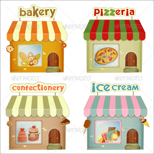GraphicRiver Set of Cartoon Shops 4154012