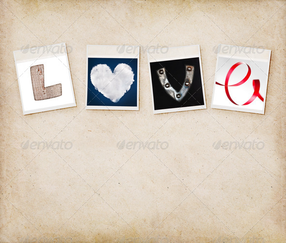 PhotoDune Love word made of four different objects valentine s day concep 4154184