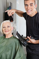 Hair Stylist Blow Drying Senior Woman's Hair - PhotoDune Item for Sale