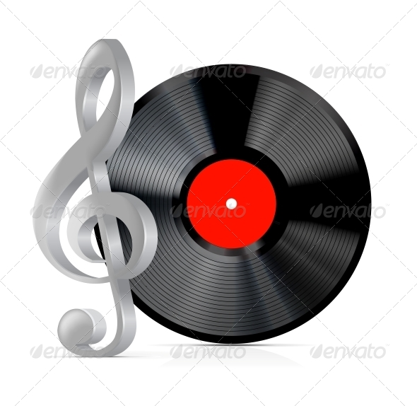 GraphicRiver Vinyl Record Plate with Treble Clef 4155838