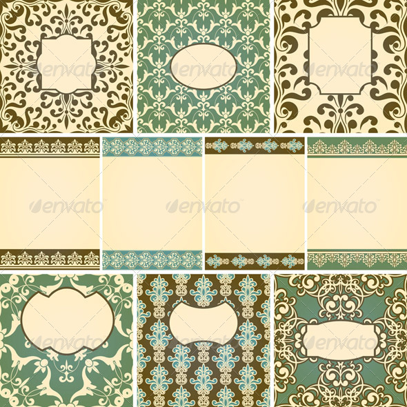 Vector Cards in Retro Style - Patterns Decorative