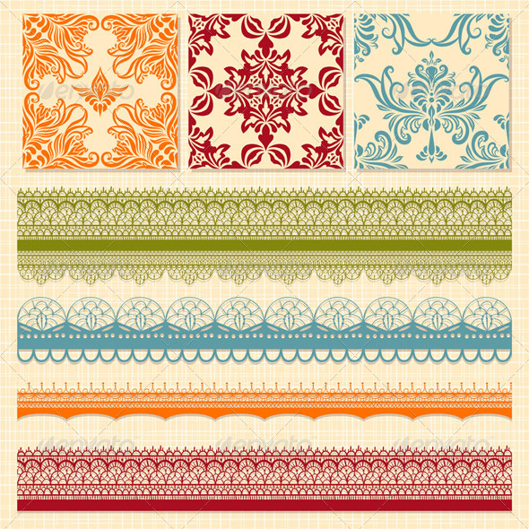 GraphicRiver Vector Seamless Floral Patterns and Lacy Ribbons 4155988