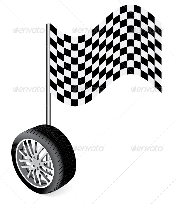 GraphicRiver Vector Wheel With Race Flag 4156243