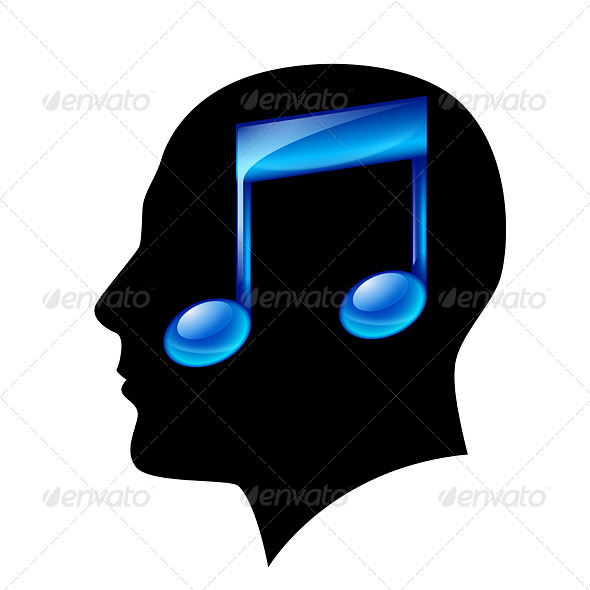 GraphicRiver Head of Man with Musical Note 4156659