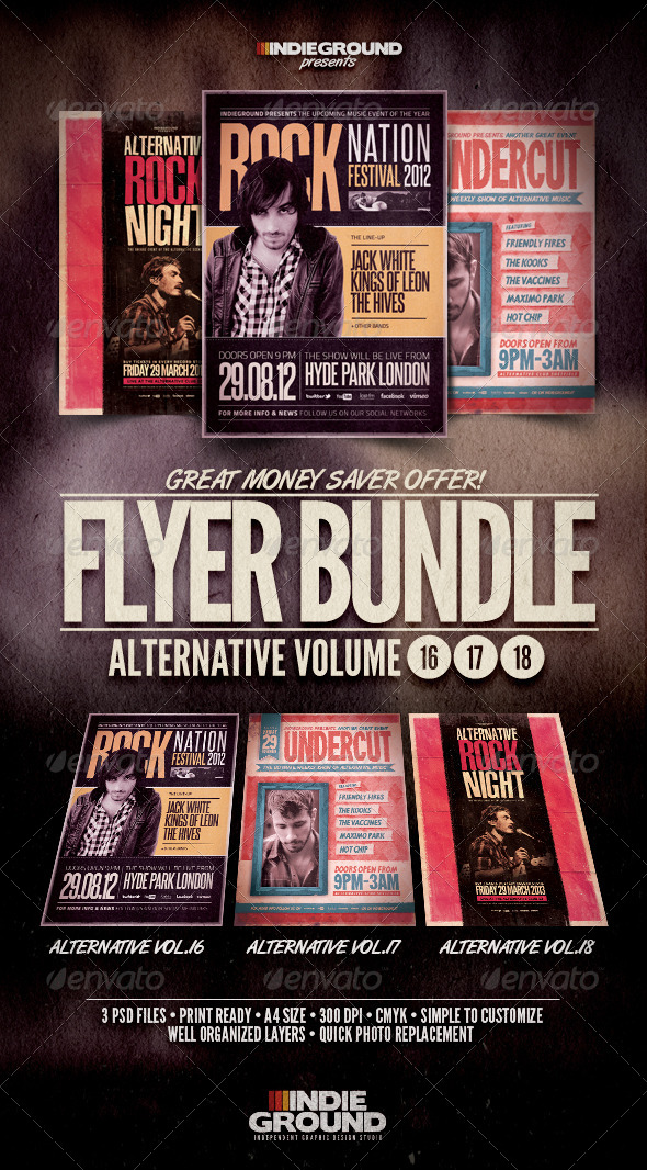 Alternative Flyer/Poster Bundle Vol. 16-18 - Concerts Events