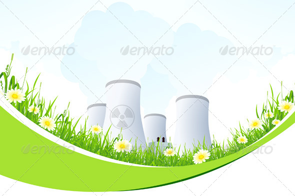Abstract Background with Nuclear Power Plant - Landscapes Nature