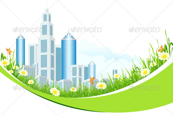 Abstract Background with City Line and Flowers - Landscapes Nature