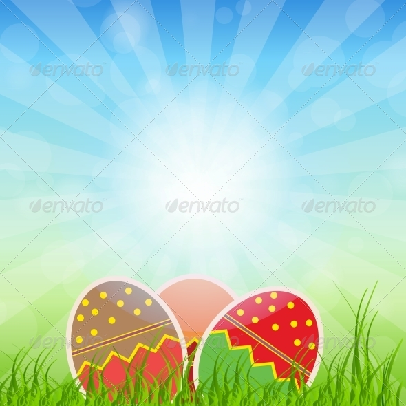 GraphicRiver Easter Eggs Card with Colourful Eggs 4159130