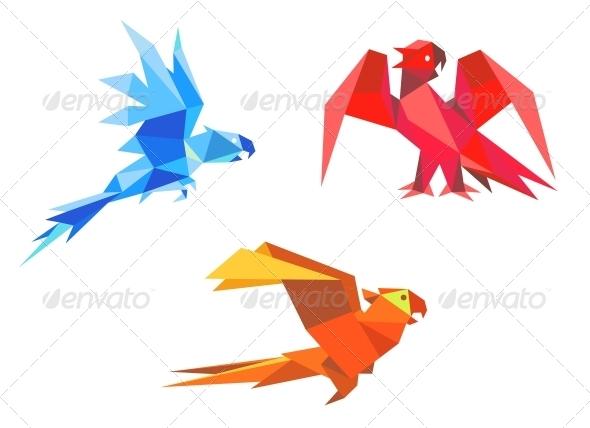 GraphicRiver Origami parrots 4162206