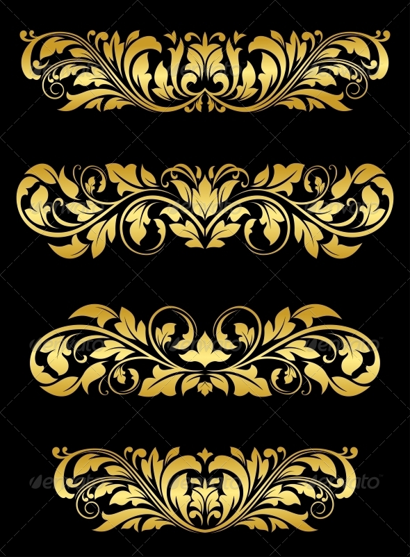 Golden floral embellishments - Patterns Decorative