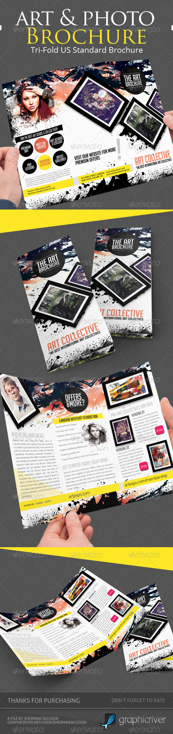 Art & Photo Tri-fold Brochure Template - Corporate Brochures