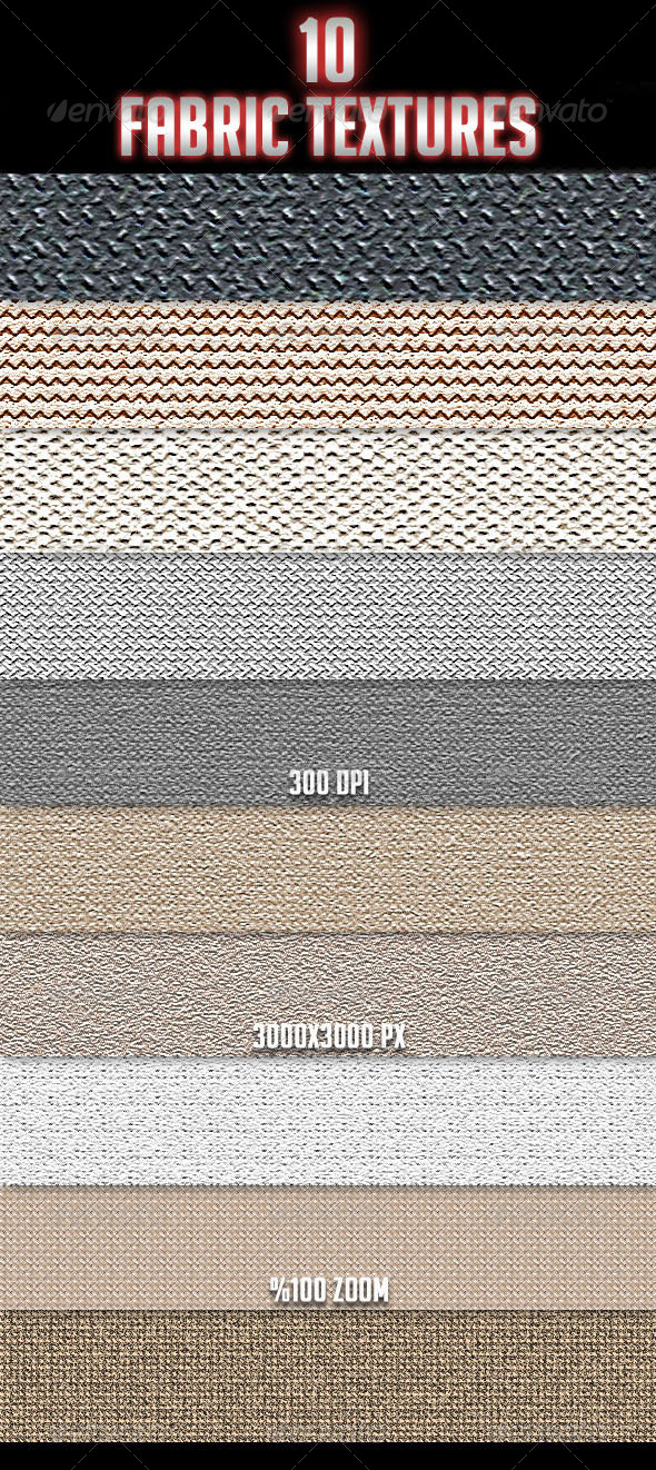 GraphicRiver 10 Fabric Textures 4163759