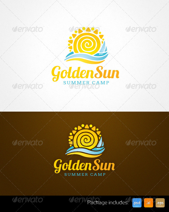 GraphicRiver Golden Sun Summer Camp Resort Logo Template 4081674