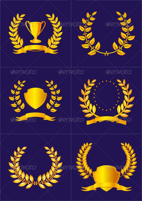GraphicRiver Laurel Wreaths with Ribbons and Shields 4082237