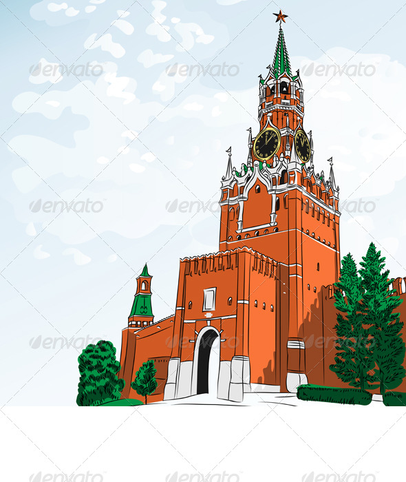Vector Sketch of the Moscow Kremlin, Russia - Buildings Objects
