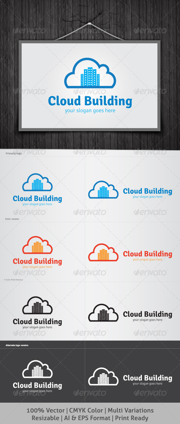 Cloud Building Logo - Buildings Logo Templates