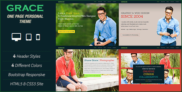 ThemeForest Grace One Page Personal Parallax Scrolling Theme 4160746