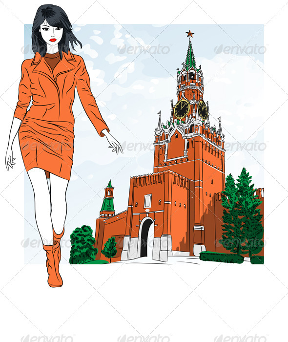 Vector Sketch of a Girl in Moscow - People Characters