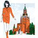 Vector Sketch of a Girl in Moscow - GraphicRiver Item for Sale
