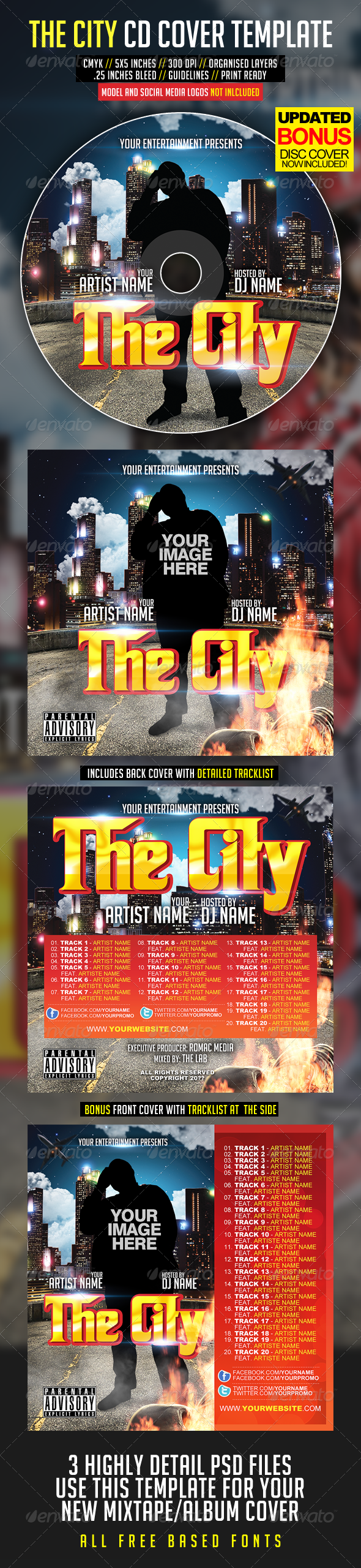 The City CD Cover - CD &amp; DVD artwork Print Templates