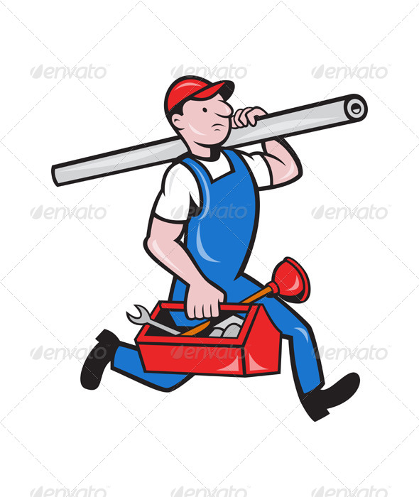 Plumber with Pipe Toolbox Cartoon - People Characters