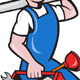 Plumber with Pipe Toolbox Cartoon - GraphicRiver Item for Sale