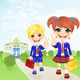 Vector School Girl and Boy near School - GraphicRiver Item for Sale